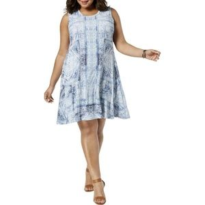 Style Co Plus Size Blue Printed Swing Tunic Dress